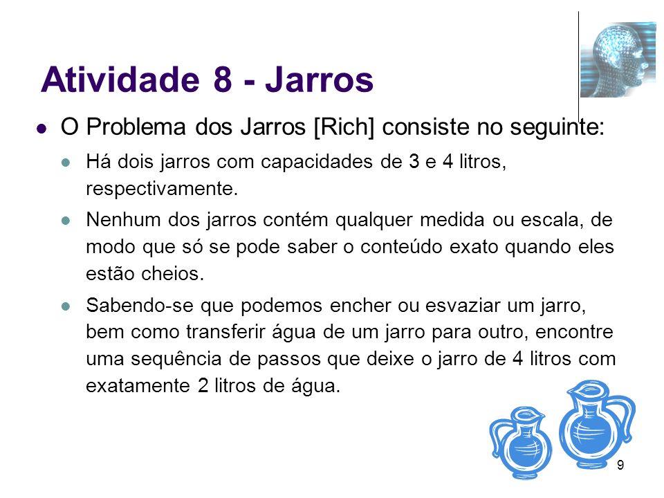 9 Atividade 8 - Jarros O Problema dos Jarros [Rich] consiste no seguinte: Há dois jarros com capacidades de 3 e 4 litros, respectivamente. Nenhum dos