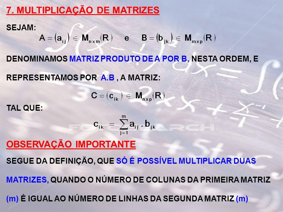 SIMBOLICAMENTE: n x mm x p n x p R1 R2 OBSERVE QUE, AO IMPOR QUE O NÚMERO DE COLUNAS DA PRIMEIRA MATRIZ SEJA IGUAL AO NÚMERO DE LINHAS DA SEGUNDA MATRIZ, ESTAMOS GARANTINDO QUE O PRIMEIRO RETÂNGULO (R1) TENHA O MESMO NÚMERO DE ELEMENTOS QUE O SEGUNDO RETÂNGULO (R2) OBSERVAÇÃO