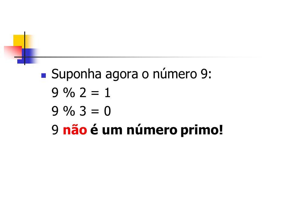 Suponha agora o número 9: 9 % 2 = 1 9 % 3 = 0 9 não é um número primo!