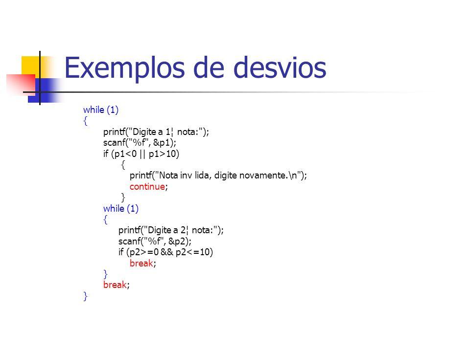 Exemplos de desvios while (1) { printf(