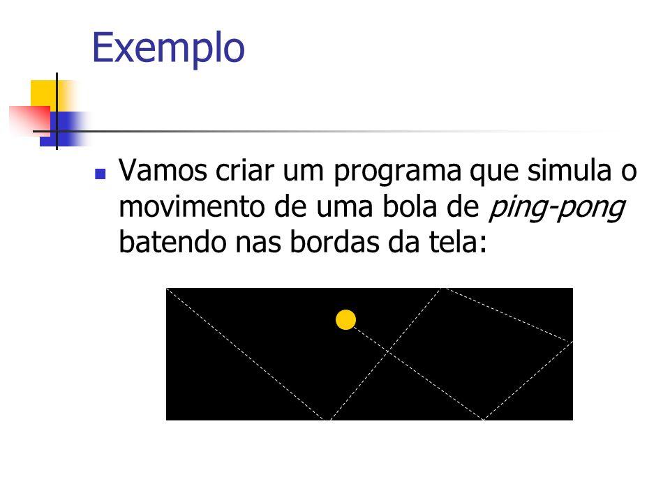 Exemplo Vamos criar um programa que simula o movimento de uma bola de ping-pong batendo nas bordas da tela:
