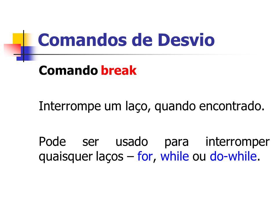 Comandos de Desvio Comando break Interrompe um laço, quando encontrado. Pode ser usado para interromper quaisquer laços – for, while ou do-while.