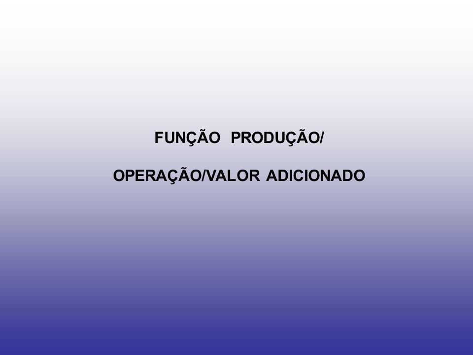 FUNÇÃO PRODUÇÃO/ OPERAÇÃO/VALOR ADICIONADO