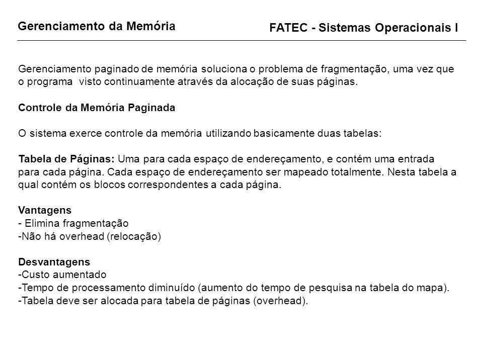 Gerenciamento da Memória FATEC - Sistemas Operacionais I Gerenciamento paginado de memória soluciona o problema de fragmentação, uma vez que o program