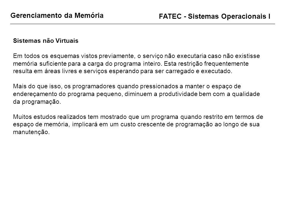 Gerenciamento da Memória FATEC - Sistemas Operacionais I Sistemas não Virtuais Em todos os esquemas vistos previamente, o serviço não executaria caso