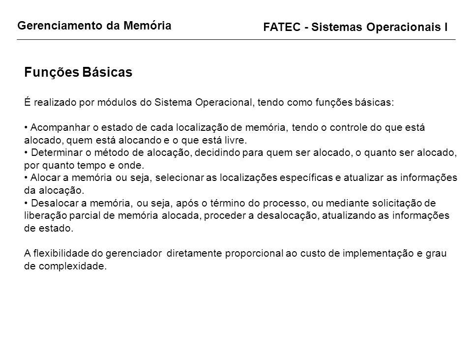 FATEC - Sistemas Operacionais I Funções Básicas É realizado por módulos do Sistema Operacional, tendo como funções básicas: Acompanhar o estado de cad