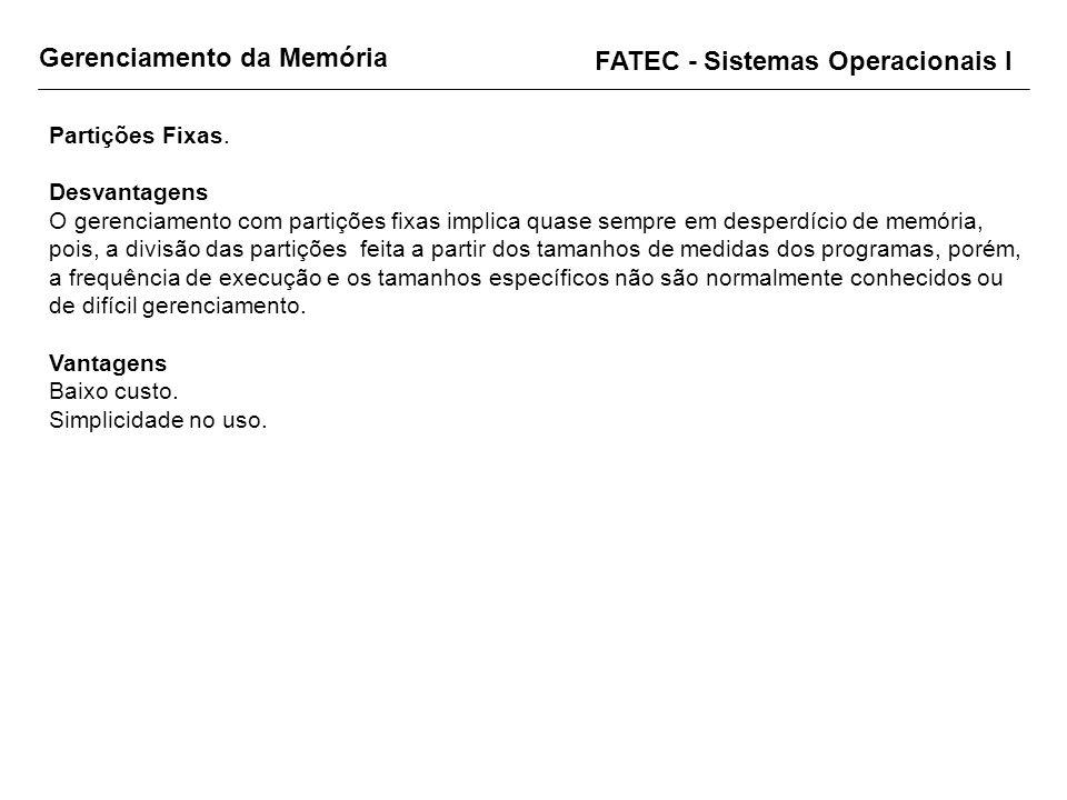 Gerenciamento da Memória FATEC - Sistemas Operacionais I Partições Fixas. Desvantagens O gerenciamento com partições fixas implica quase sempre em des