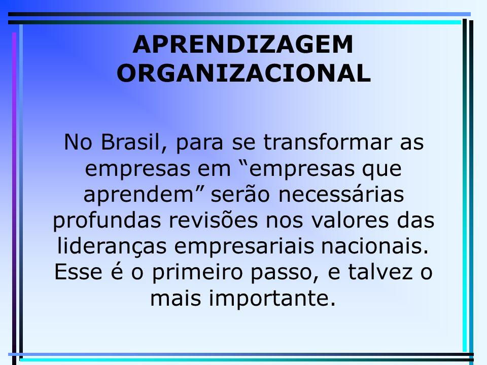 APRENDIZAGEM ORGANIZACIONAL No Brasil, para se transformar as empresas em empresas que aprendem serão necessárias profundas revisões nos valores das lideranças empresariais nacionais.
