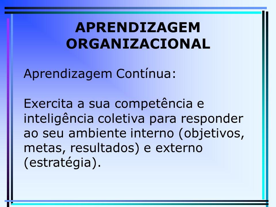 APRENDIZAGEM ORGANIZACIONAL Aprendizagem Contínua: Exercita a sua competência e inteligência coletiva para responder ao seu ambiente interno (objetivos, metas, resultados) e externo (estratégia).