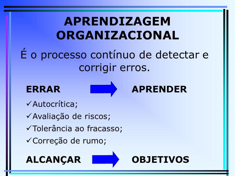 APRENDIZAGEM ORGANIZACIONAL É o processo contínuo de detectar e corrigir erros. ERRARAPRENDER Autocrítica; Avaliação de riscos; Tolerância ao fracasso