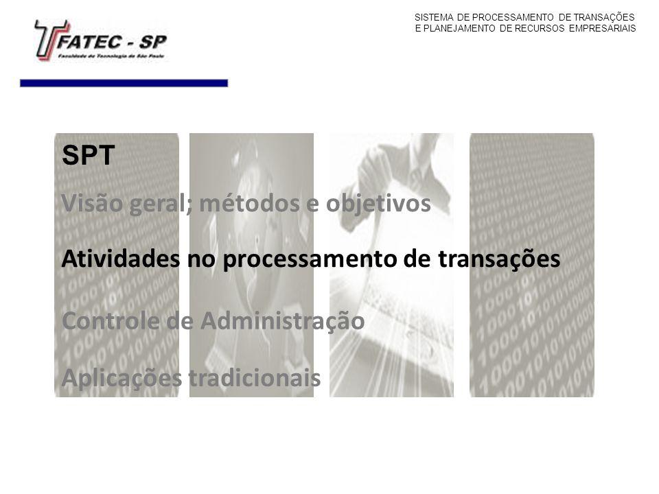 Visão geral; métodos e objetivos Atividades no processamento de transações Controle de Administração Aplicações tradicionais SPT SISTEMA DE PROCESSAME