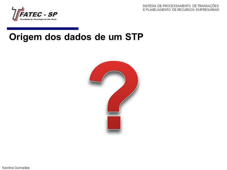 Origem dos dados de um STP Karolina Guimarães SISTEMA DE PROCESSAMENTO DE TRANSAÇÕES E PLANEJAMENTO DE RECURSOS EMPRESARIAIS
