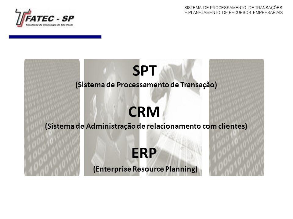 CRM (Sistema de Administração de relacionamento com clientes) ERP (Enterprise Resource Planning) SPT (Sistema de Processamento de Transação) SISTEMA D
