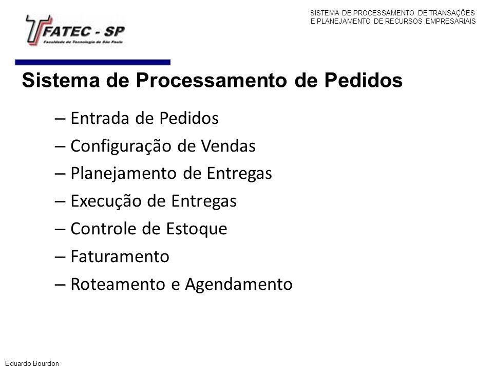 Eduardo Bourdon – Entrada de Pedidos – Configuração de Vendas – Planejamento de Entregas – Execução de Entregas – Controle de Estoque – Faturamento –