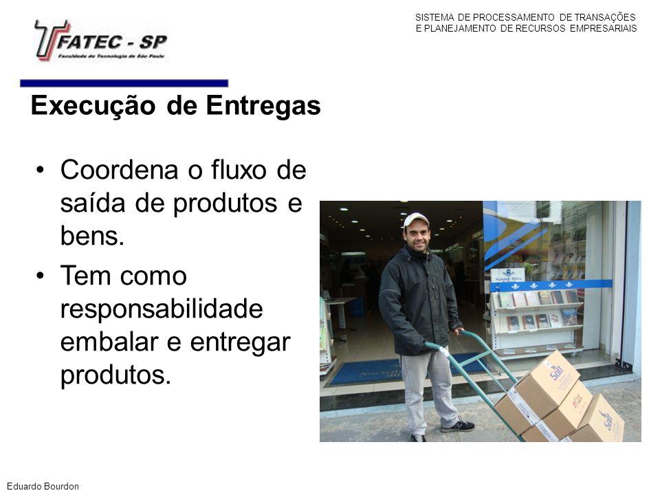 Execução de Entregas Coordena o fluxo de saída de produtos e bens. Tem como responsabilidade embalar e entregar produtos. Eduardo Bourdon SISTEMA DE P