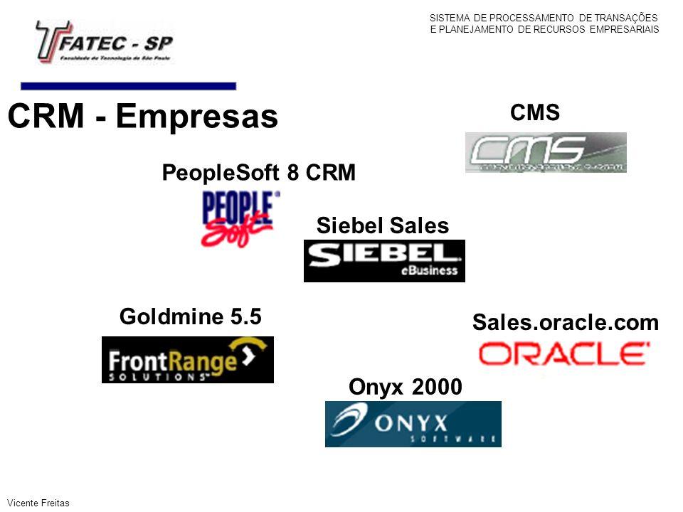 PeopleSoft 8 CRM CMS Siebel Sales Sales.oracle.com Goldmine 5.5 Onyx 2000 SISTEMA DE PROCESSAMENTO DE TRANSAÇÕES E PLANEJAMENTO DE RECURSOS EMPRESARIA