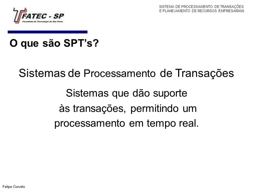 O que são SPTs? Felipe Curvelo Sistemas de Processamento de Transações Sistemas que dão suporte às transações, permitindo um processamento em tempo re