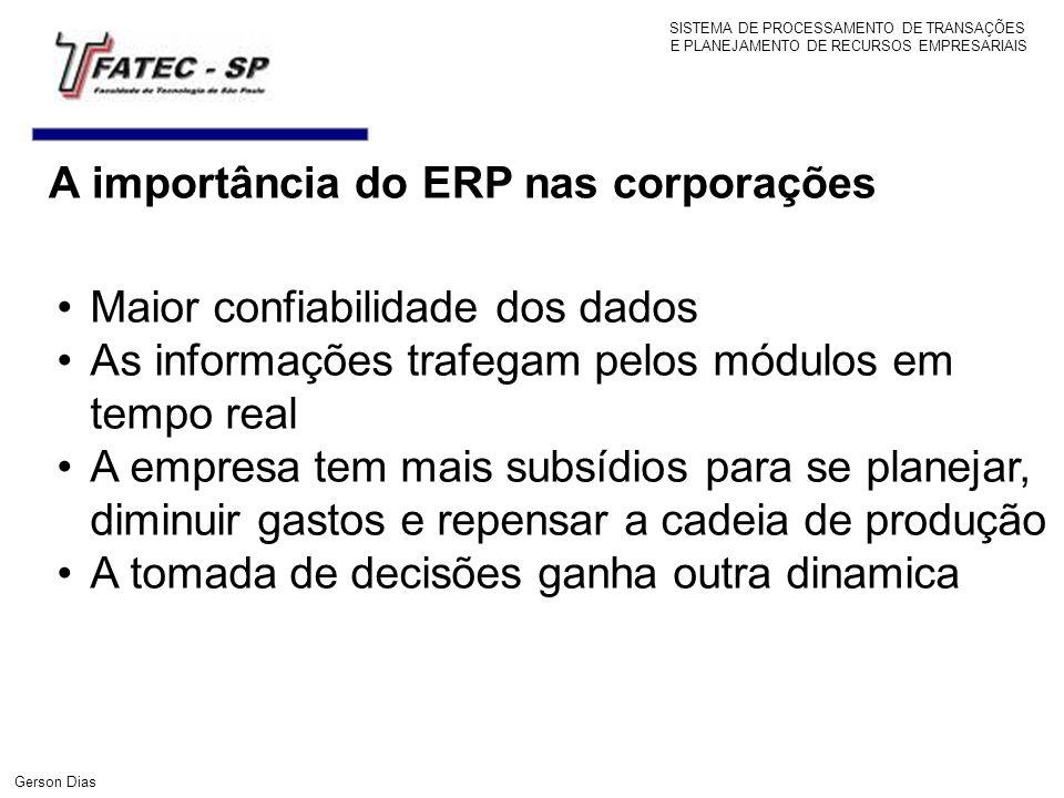 A importância do ERP nas corporações Maior confiabilidade dos dados As informações trafegam pelos módulos em tempo real A empresa tem mais subsídios p