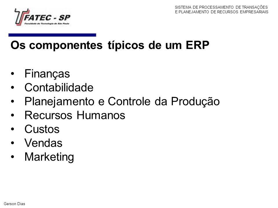 SISTEMA DE PROCESSAMENTO DE TRANSAÇÕES E PLANEJAMENTO DE RECURSOS EMPRESARIAIS Gerson Dias Finanças Contabilidade Planejamento e Controle da Produção