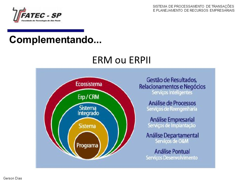 Complementando... ERM ou ERPII SISTEMA DE PROCESSAMENTO DE TRANSAÇÕES E PLANEJAMENTO DE RECURSOS EMPRESARIAIS Gerson Dias