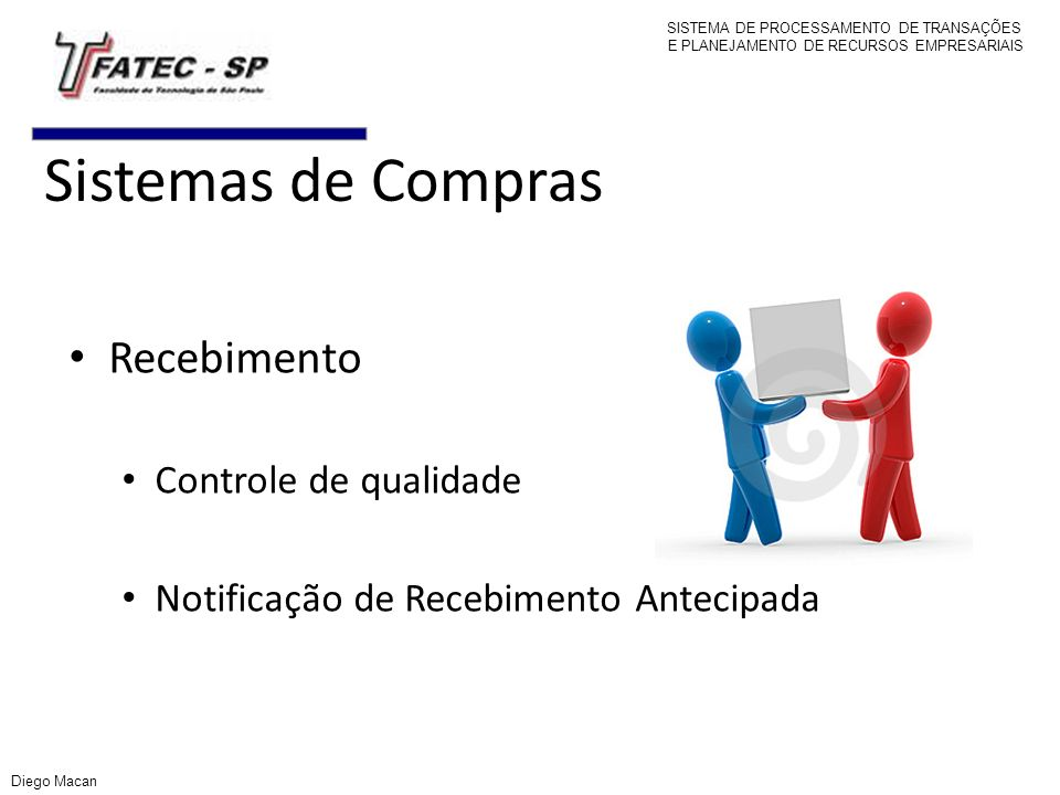 Sistemas de Compras Recebimento Controle de qualidade Notificação de Recebimento Antecipada SISTEMA DE PROCESSAMENTO DE TRANSAÇÕES E PLANEJAMENTO DE R