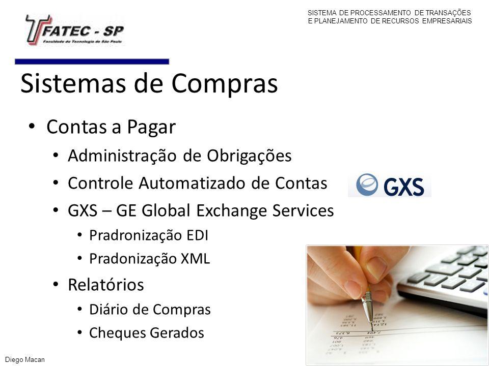 Sistemas de Compras Contas a Pagar Administração de Obrigações Controle Automatizado de Contas GXS – GE Global Exchange Services Pradronização EDI Pra
