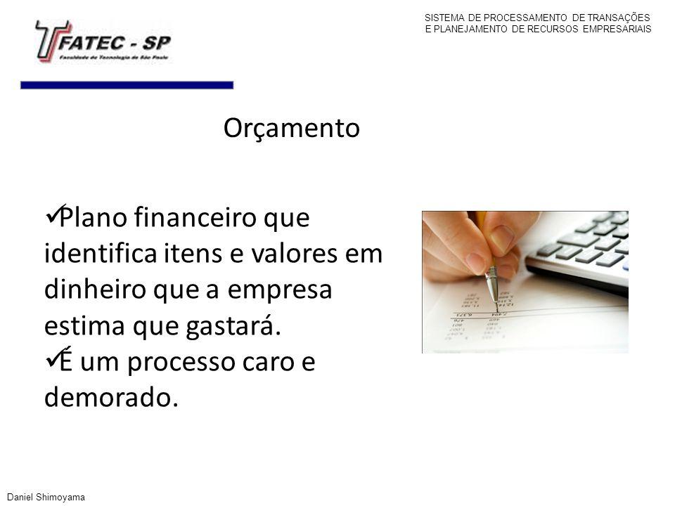 Orçamento Plano financeiro que identifica itens e valores em dinheiro que a empresa estima que gastará. É um processo caro e demorado. SISTEMA DE PROC