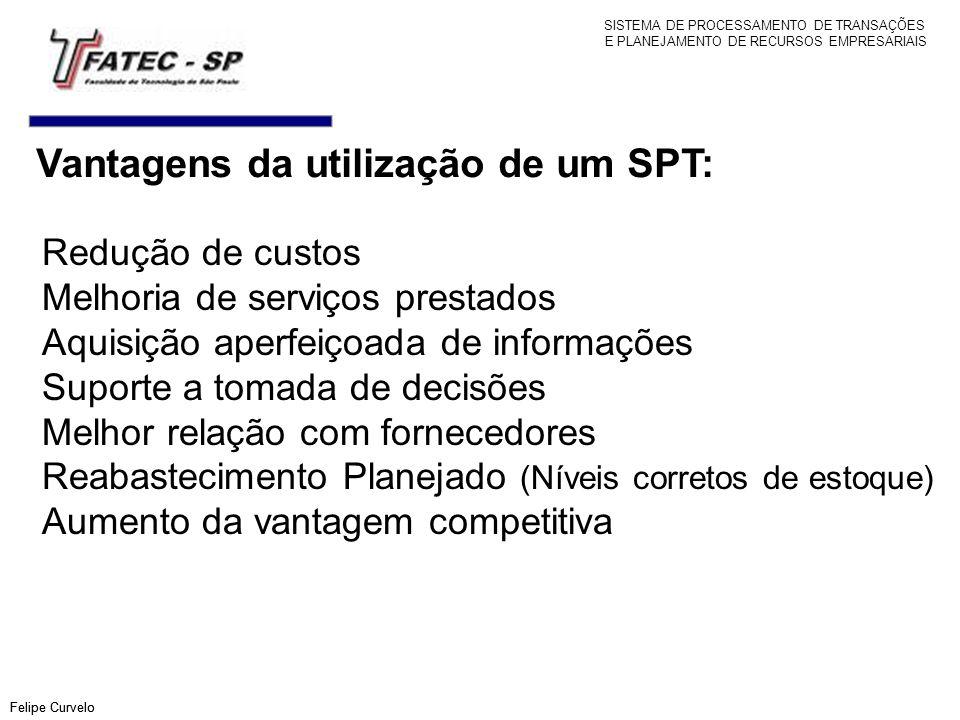 Vantagens da utilização de um SPT: Felipe Curvelo Redução de custos Melhoria de serviços prestados Aquisição aperfeiçoada de informações Suporte a tom