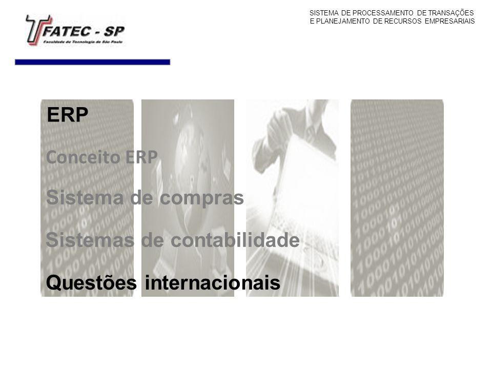 Conceito ERP Questões internacionais ERP SISTEMA DE PROCESSAMENTO DE TRANSAÇÕES E PLANEJAMENTO DE RECURSOS EMPRESARIAIS Sistema de compras Sistemas de