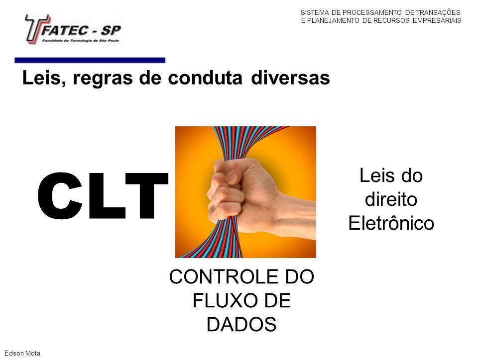Leis, regras de conduta diversas CLT CONTROLE DO FLUXO DE DADOS Leis do direito Eletrônico Edson Mota SISTEMA DE PROCESSAMENTO DE TRANSAÇÕES E PLANEJA