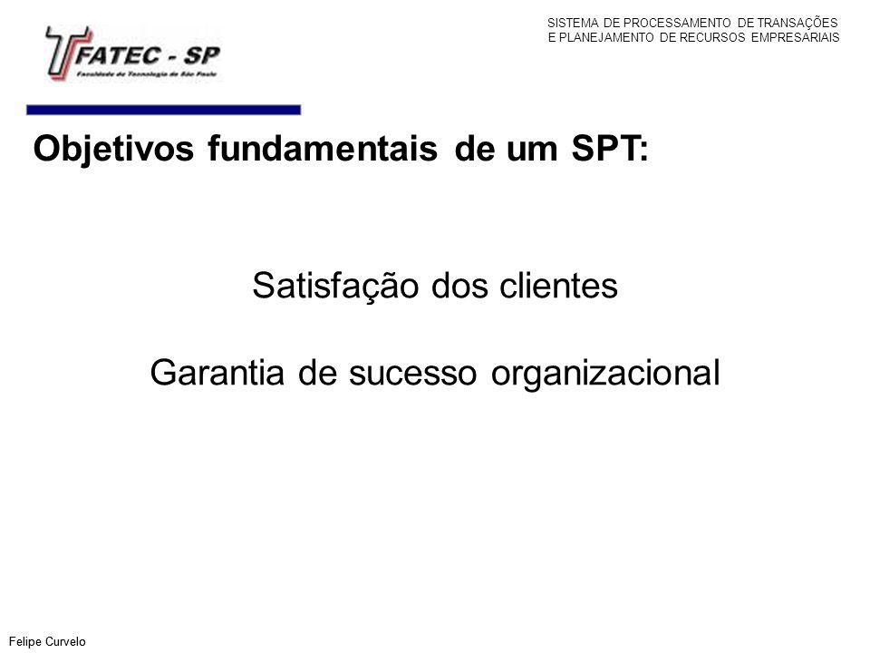 Objetivos fundamentais de um SPT: Felipe Curvelo Satisfação dos clientes Garantia de sucesso organizacional Felipe Curvelo SISTEMA DE PROCESSAMENTO DE