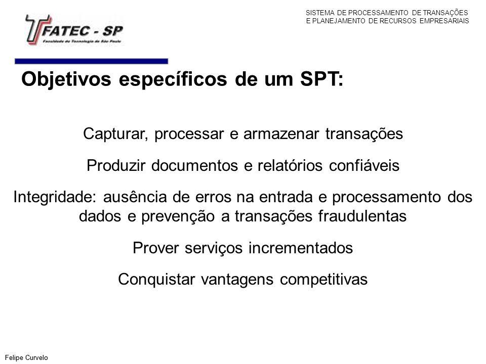 Objetivos específicos de um SPT: Felipe Curvelo Capturar, processar e armazenar transações Produzir documentos e relatórios confiáveis Integridade: au