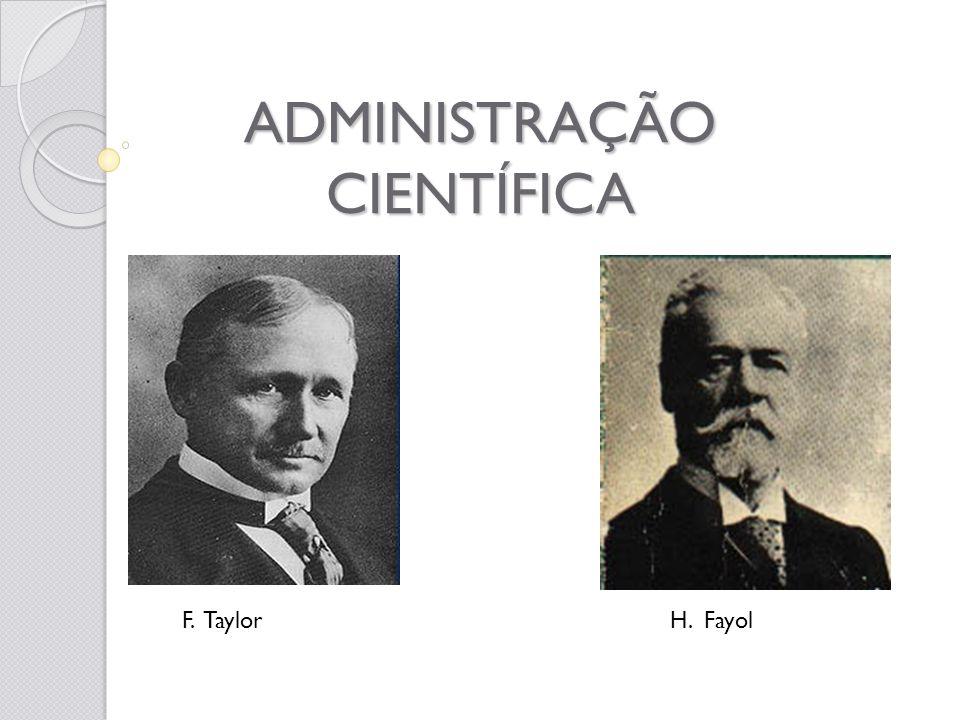 ADMINISTRAÇÃO CIENTÍFICA H. FayolF. Taylor