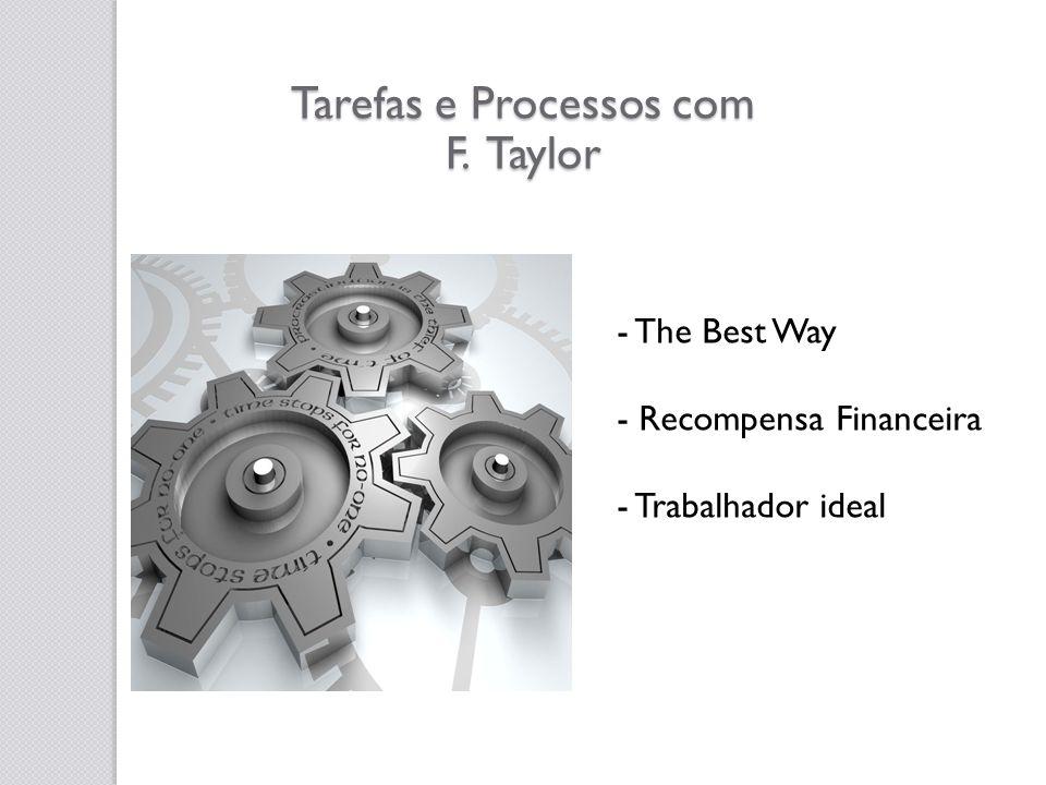 Tarefas e Processos com F. Taylor - The Best Way - Recompensa Financeira - Trabalhador ideal