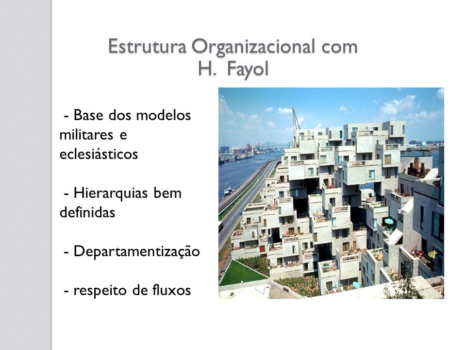 Estrutura Organizacional com H. Fayol - Base dos modelos militares e eclesiásticos - Hierarquias bem definidas - Departamentização - respeito de fluxo