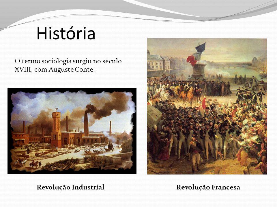 História Revolução FrancesaRevolução Industrial O termo sociologia surgiu no século XVIII, com Auguste Conte.