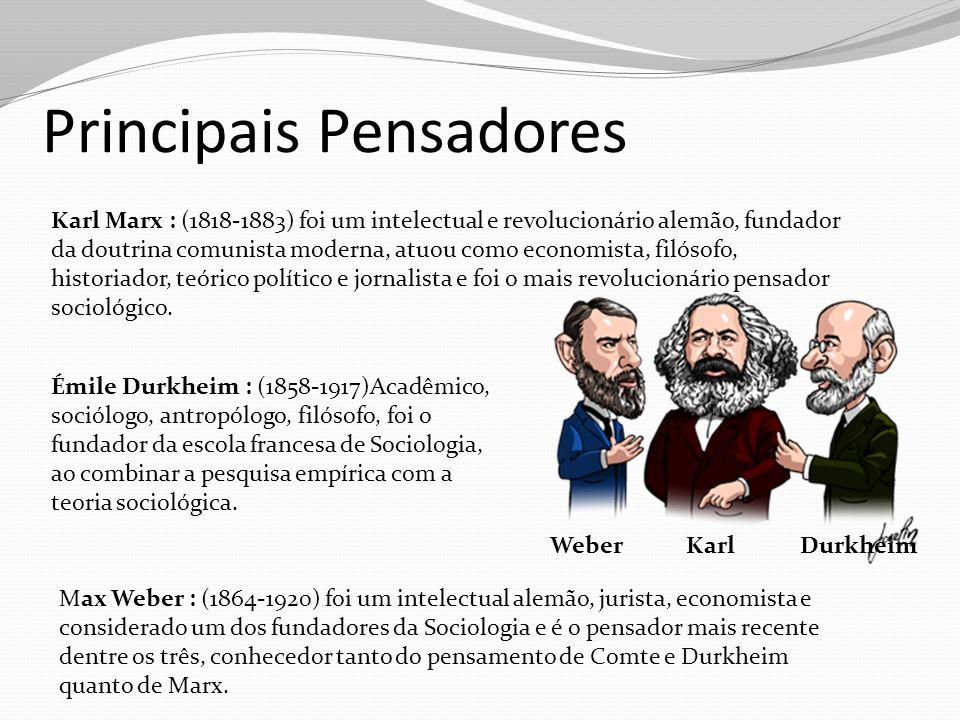 Principais Pensadores Karl Marx : (1818-1883) foi um intelectual e revolucionário alemão, fundador da doutrina comunista moderna, atuou como economist