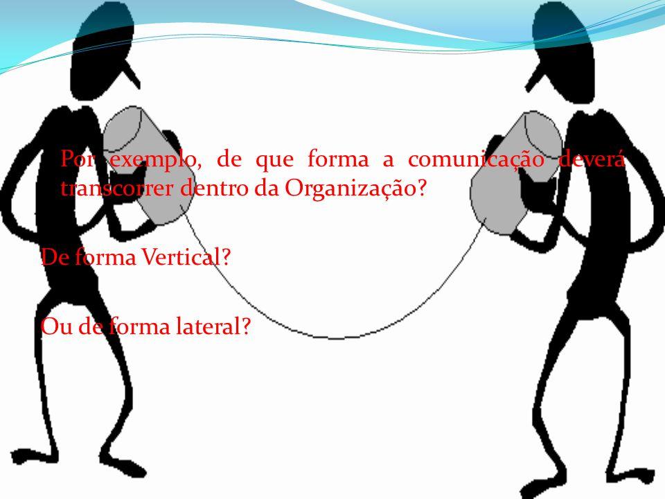 Por exemplo, de que forma a comunicação deverá transcorrer dentro da Organização? De forma Vertical? Ou de forma lateral?