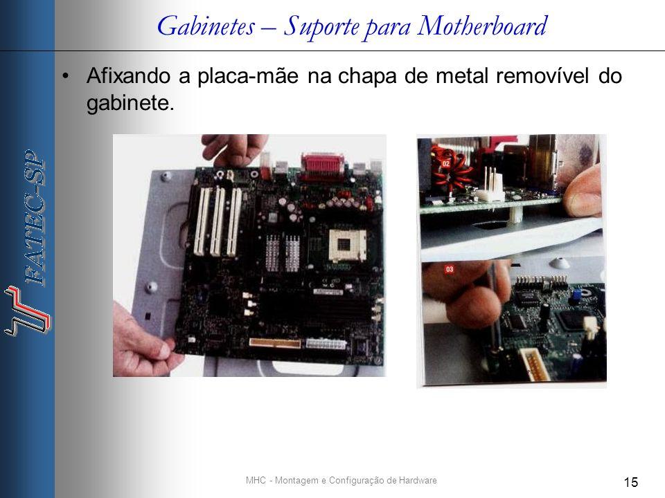 MHC - Montagem e Configuração de Hardware 15 Gabinetes – Suporte para Motherboard Afixando a placa-mãe na chapa de metal removível do gabinete.
