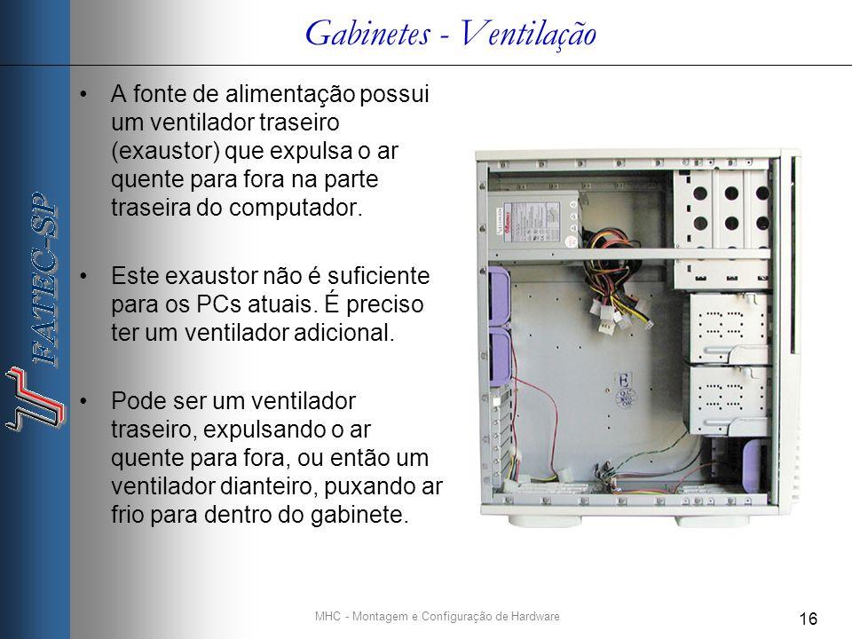 MHC - Montagem e Configuração de Hardware 16 Gabinetes - Ventilação A fonte de alimentação possui um ventilador traseiro (exaustor) que expulsa o ar quente para fora na parte traseira do computador.
