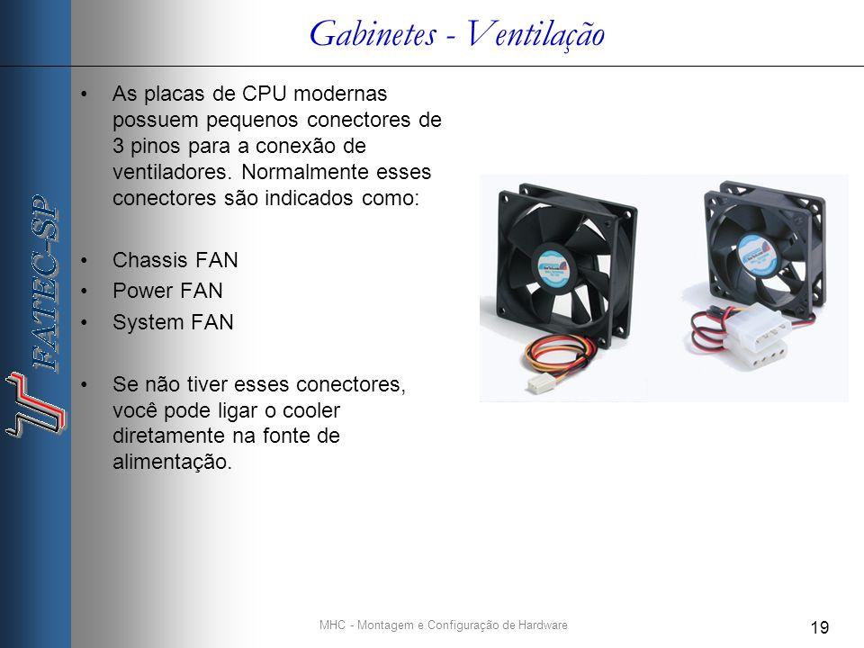 MHC - Montagem e Configuração de Hardware 19 Gabinetes - Ventilação As placas de CPU modernas possuem pequenos conectores de 3 pinos para a conexão de ventiladores.