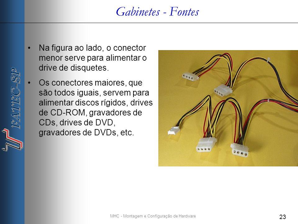 MHC - Montagem e Configuração de Hardware 23 Gabinetes - Fontes Na figura ao lado, o conector menor serve para alimentar o drive de disquetes.