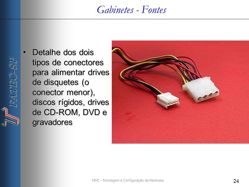 MHC - Montagem e Configuração de Hardware 24 Gabinetes - Fontes Detalhe dos dois tipos de conectores para alimentar drives de disquetes (o conector menor), discos rígidos, drives de CD-ROM, DVD e gravadoresDetalhe dos dois tipos de conectores para alimentar drives de disquetes (o conector menor), discos rígidos, drives de CD-ROM, DVD e gravadores