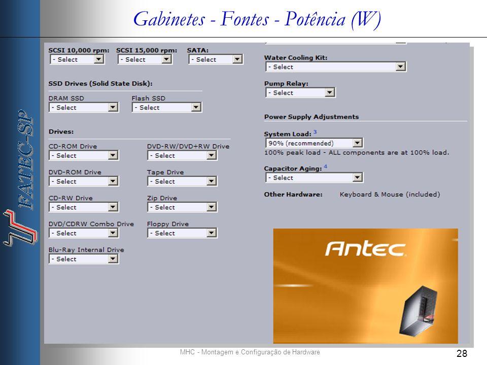 MHC - Montagem e Configuração de Hardware 28 Gabinetes - Fontes - Potência (W)
