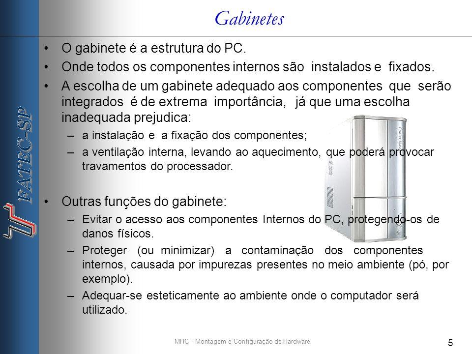 MHC - Montagem e Configuração de Hardware 5 O gabinete é a estrutura do PC.