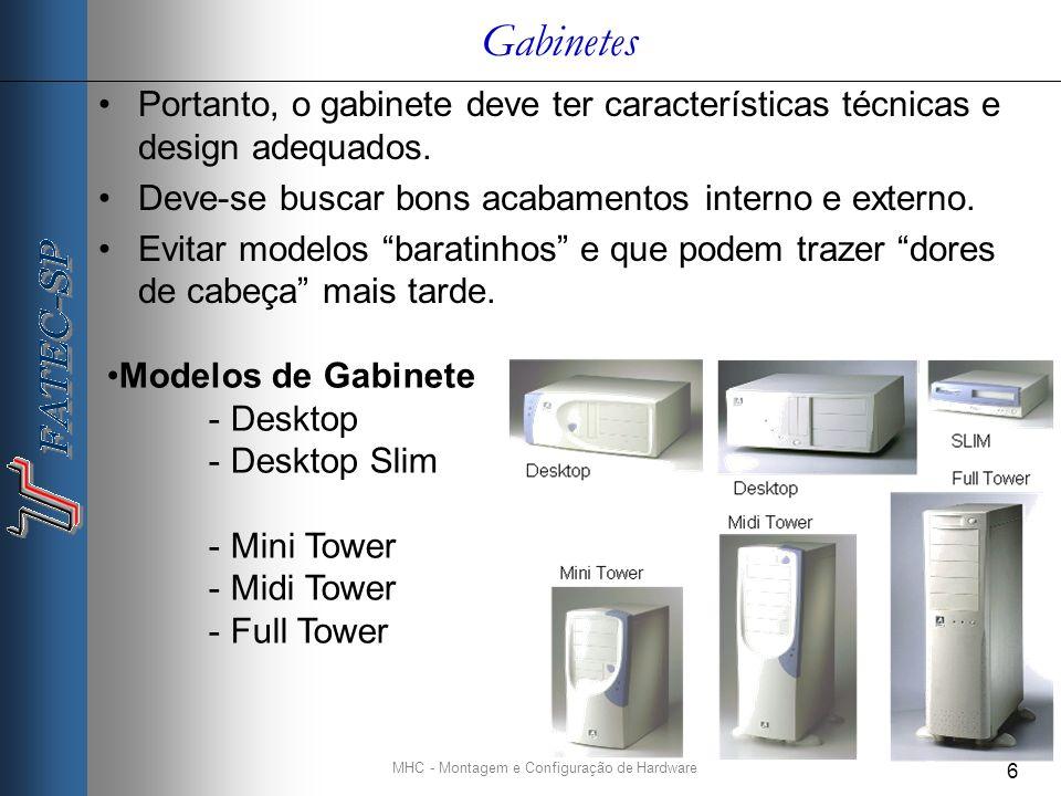 MHC - Montagem e Configuração de Hardware 6 Gabinetes Portanto, o gabinete deve ter características técnicas e design adequados.