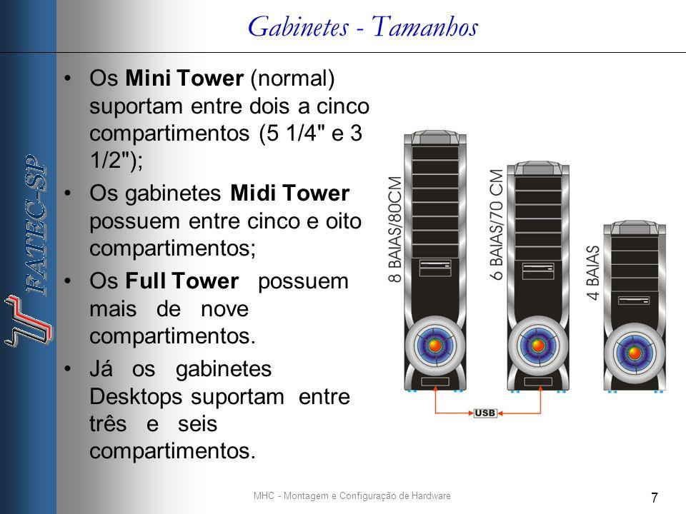MHC - Montagem e Configuração de Hardware 7 Gabinetes - Tamanhos Os Mini Tower (normal) suportam entre dois a cinco compartimentos (5 1/4 e 3 1/2 ); Os gabinetes Midi Tower possuem entre cinco e oito compartimentos; Os Full Tower possuem mais de nove compartimentos.