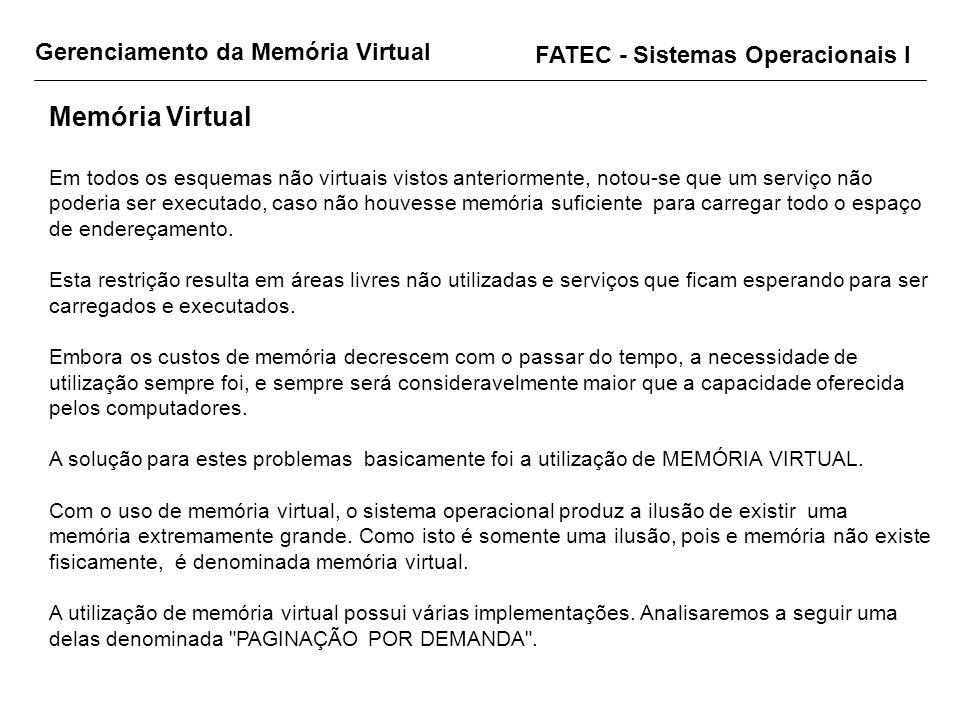 Gerenciamento da Memória Virtual FATEC - Sistemas Operacionais I Memória Virtual Em todos os esquemas não virtuais vistos anteriormente, notou-se que