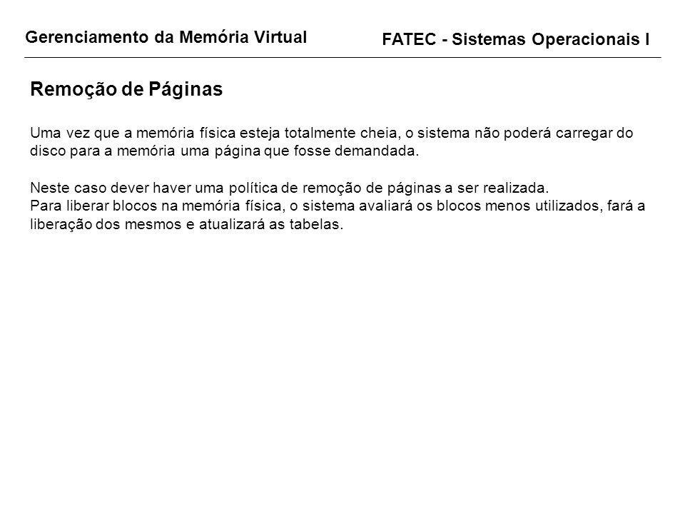 Gerenciamento da Memória Virtual FATEC - Sistemas Operacionais I Remoção de Páginas Uma vez que a memória física esteja totalmente cheia, o sistema nã