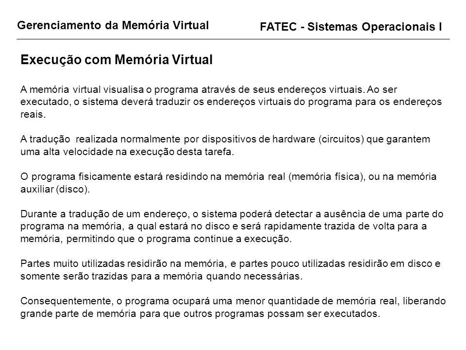Gerenciamento da Memória Virtual FATEC - Sistemas Operacionais I Execução com Memória Virtual A memória virtual visualisa o programa através de seus e
